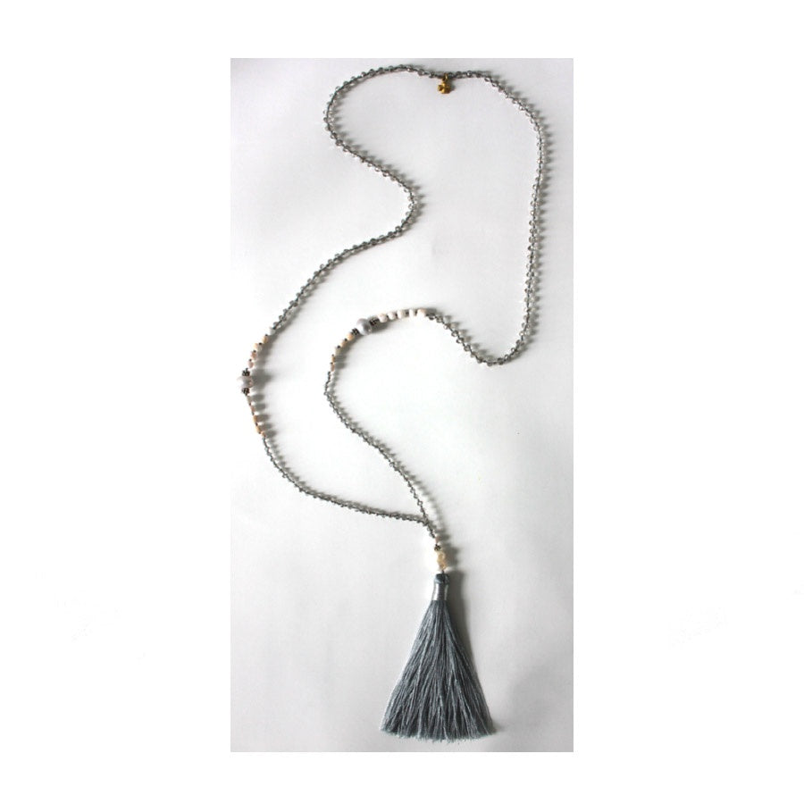 Tribe & Fable: Tassel Necklace Grey