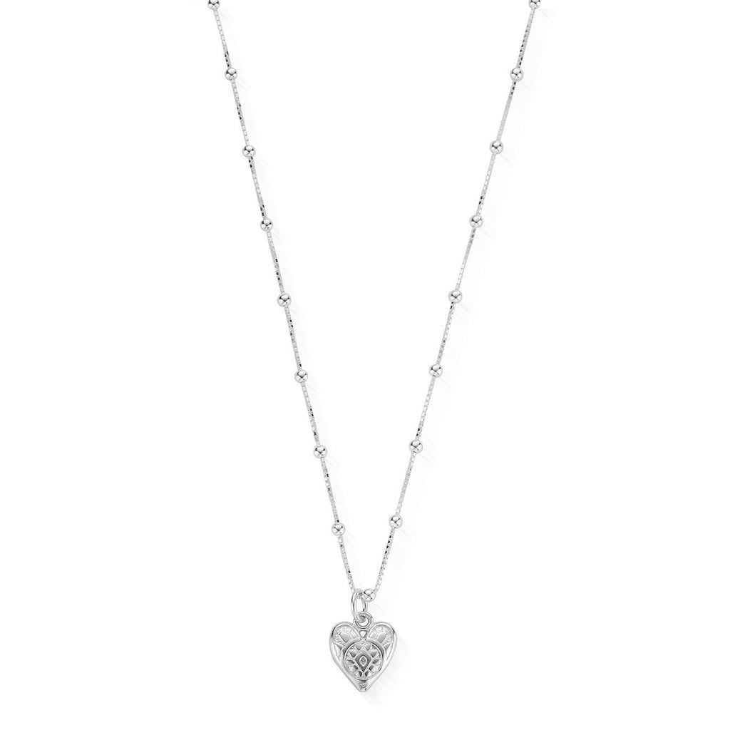ChloBo Bobble Chain Heart Necklace Silver
