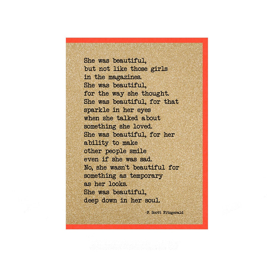She Was Beautiful Card UD4