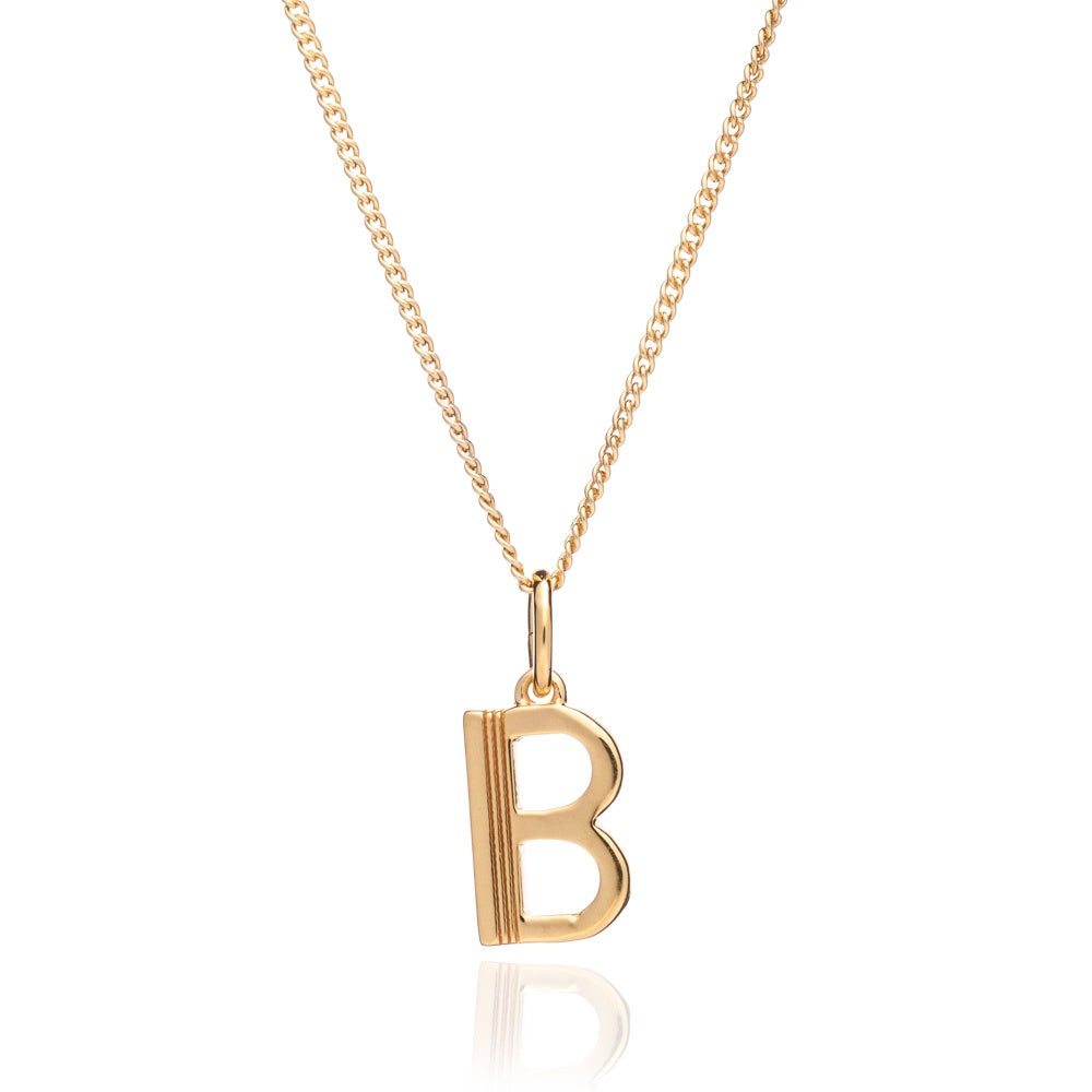 Rachel Jackson: Initial Art Deco Necklace Gold B