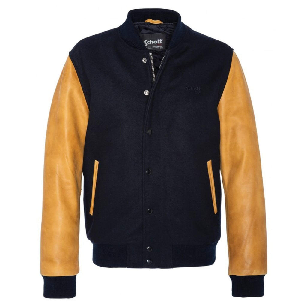Schott NYC LC USA Leather Varsity Jacket Navy/Cognac