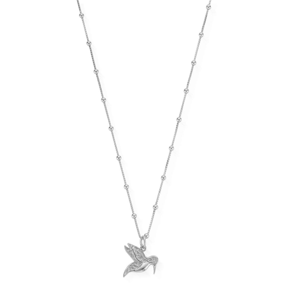 ChloBo Bobble Chain HummingBird Necklace Silver