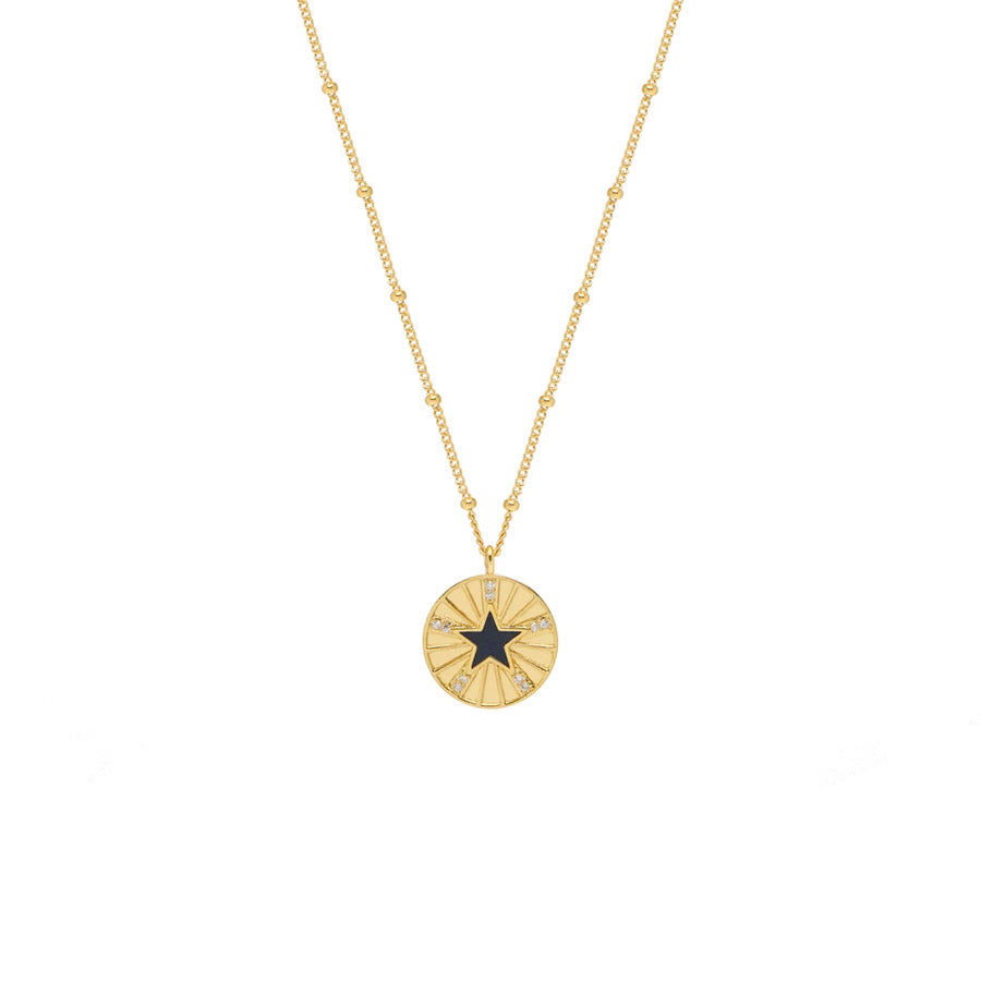 Estella Bartlett Enamel Star Disc Necklace