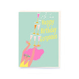 "Noi: Girl with Celebration Drinks ""Happy Birthday Gorgeous"" card"