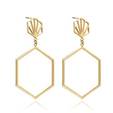 Rachel Jackson: Statement Hexagon Drop Earrings Gold