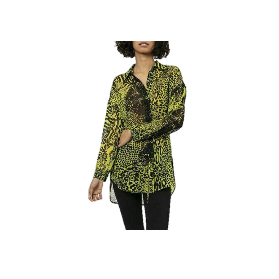 Religion: Sheen Long Line Shirt Sensation Lime
