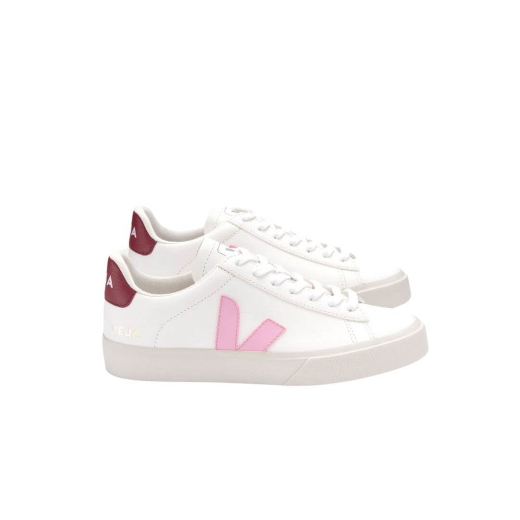 Veja Campo Leather White Guimauve Marsala