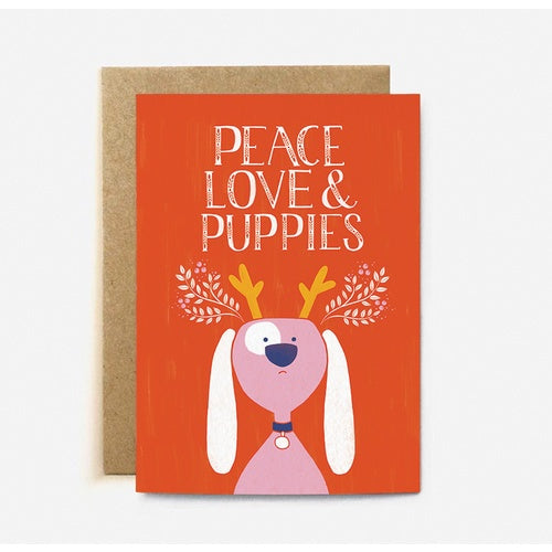 The Cardy Club: Peace Love & Puppies Xmas Card