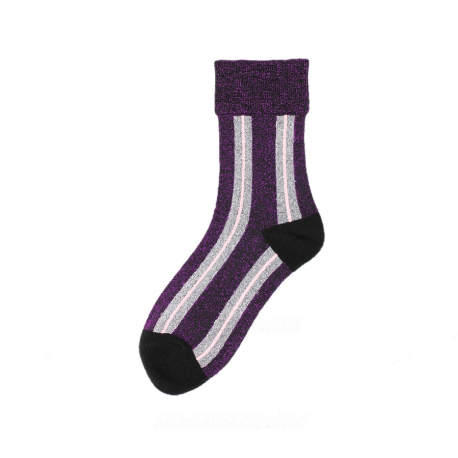 Universe of Us: Glitter Super Stripe Socks Purple