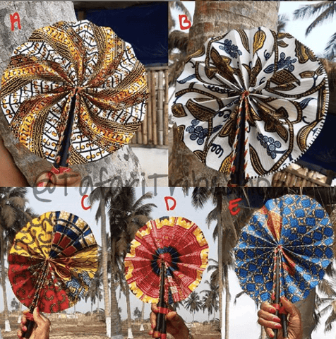 Leather African Print Fans