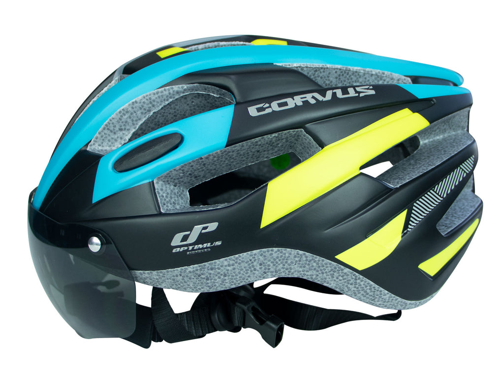 Casco In-mold Optimus Corvus Color Azul Verde Limon con Visor Delantero