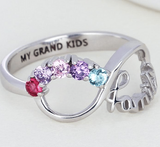 Sterling Silver 5 Round Stone Family Infinity Birthstone Ring