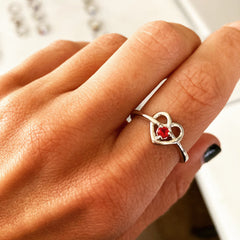 Promise Ring for Her with Heart and Single Birthstone