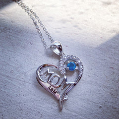 MOM Round Birthstone Necklace with Accents