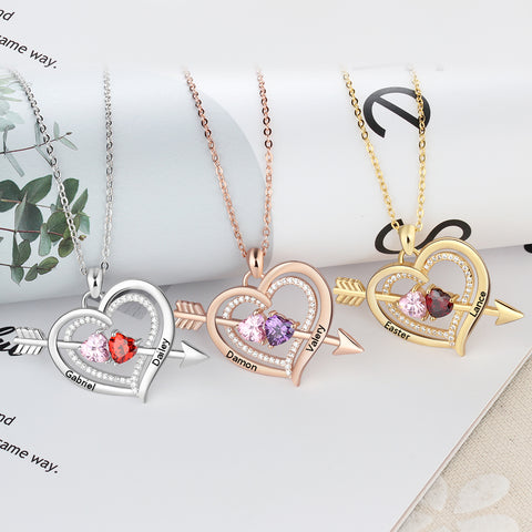 White Gold, Rose Gold, Yellow Gold Birthstone Necklaces
