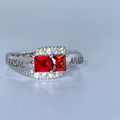 Promise Ring with 2 Square Birthstones and Accents