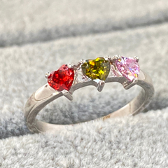 Mothers Ring with 3 Heart Birthstones