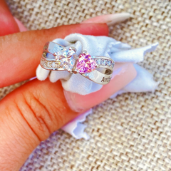 Promise Ring with 2 Heart Birthstones and Criss Cross with Accents