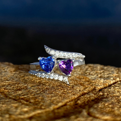 Promise Ring with 2 Heart Birthstones and Accents