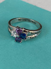 Sterling Silver 4 Heart Clover Top to Bottom Birthstone Ring