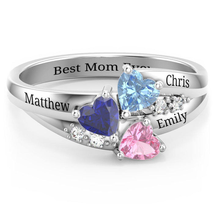 New Sterling Silver 3 Heart Mother's Birthstone Ring Rings PaulaMax Personalized Jewelry