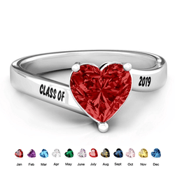 925 Sterling Silver Graduation Birthstone Ring