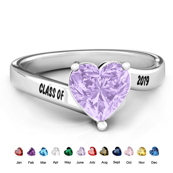 925 Sterling Silver Graduation Birthstone Ring Rings PaulaMax Personalized Jewelry