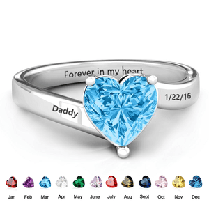 Sterling Silver Memorial Birthstone Ring Rings PaulaMax Personalized Jewelry