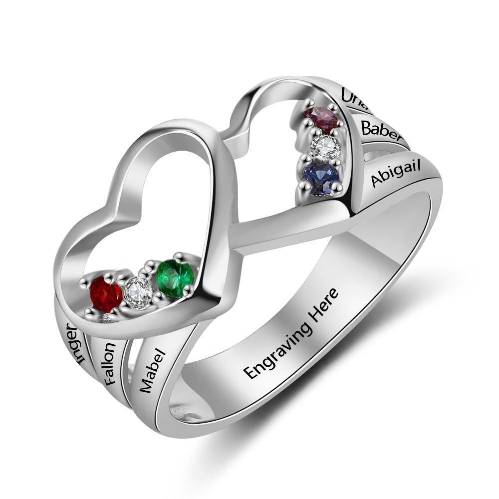 Mothers Ring with 2 Hearts and 6 Birthstones PaulaMax Jewelry