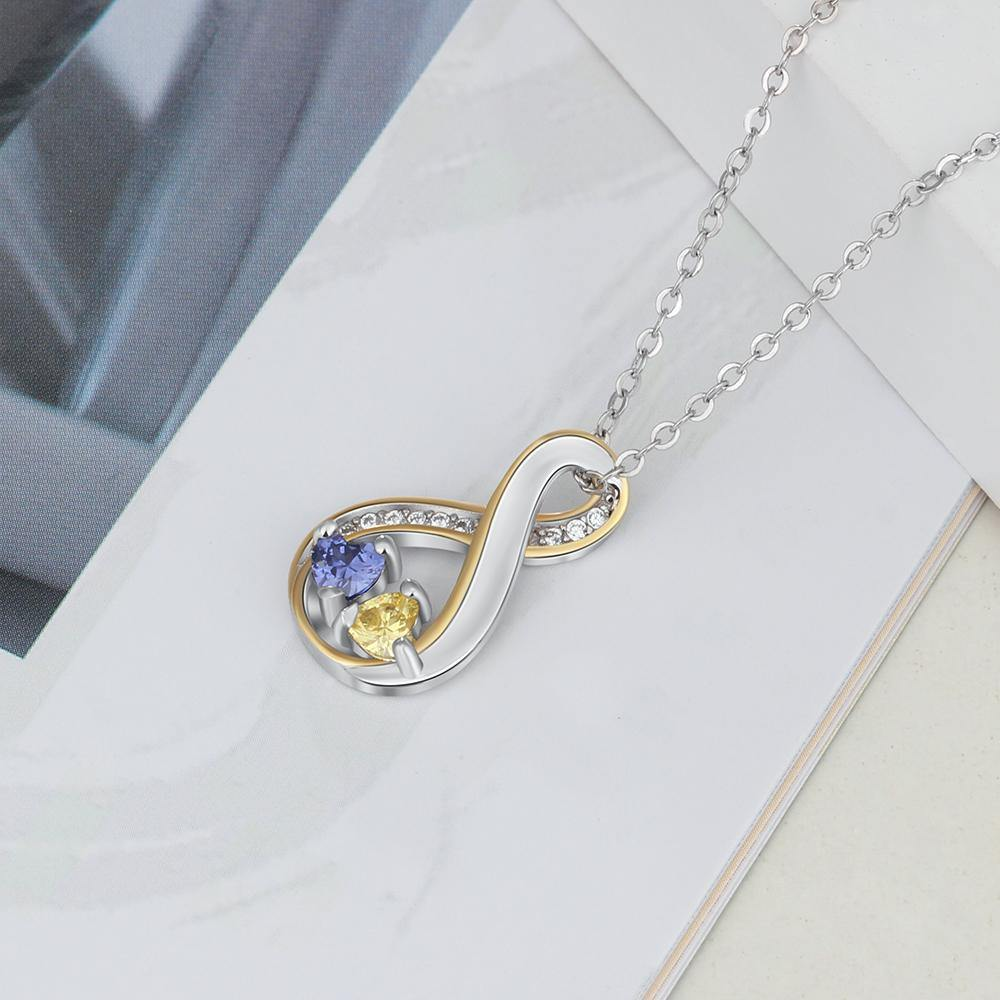 Infinity 2 Heart Birthstones with Gold Accents Necklace