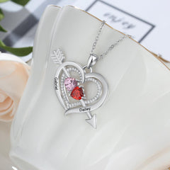 Cupid's Bow and Arrow 2 Heart Birthstones Necklace with Accents