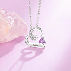 Single Heart Upside Down Birthstone Necklace with Accents