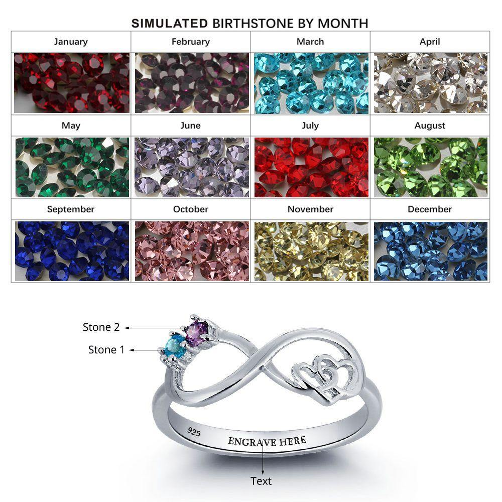 Sterling Silver 2 Stone Infinity Birthstone Ring Rings PaulaMax Personalized Jewelry