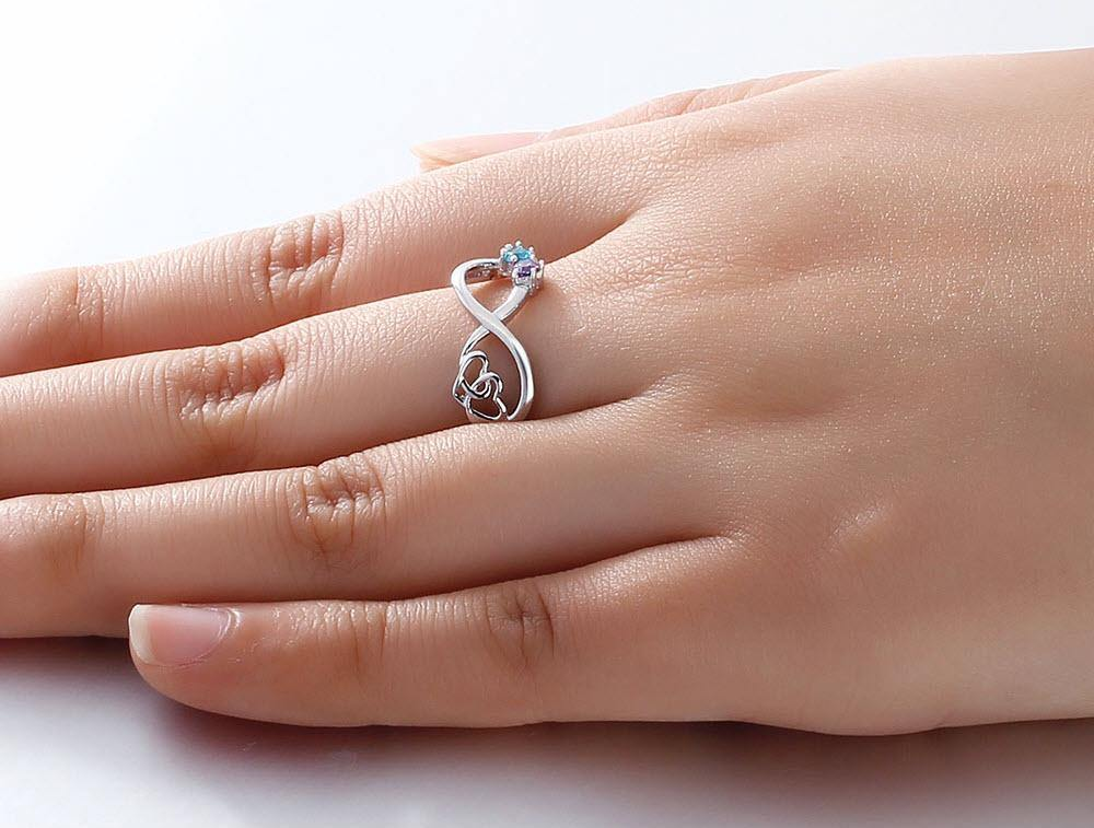 Sterling Silver 2 Round Stone Infinity Birthstone Ring Interlocking Hearts Rings PaulaMax Personalized Jewelry