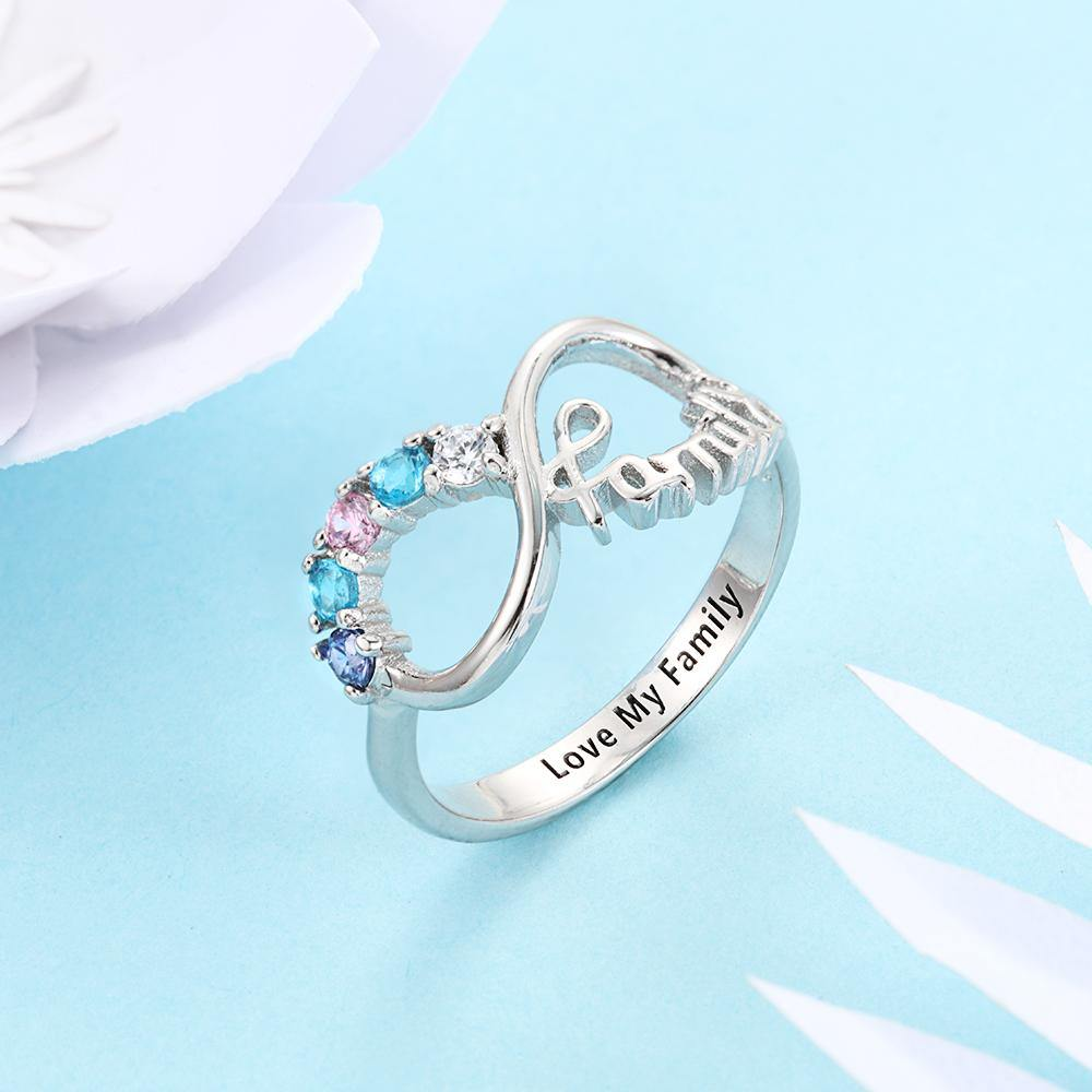 Sterling Silver 5 Round Stone Family Infinity Birthstone Ring Rings PaulaMax Personalized Jewelry