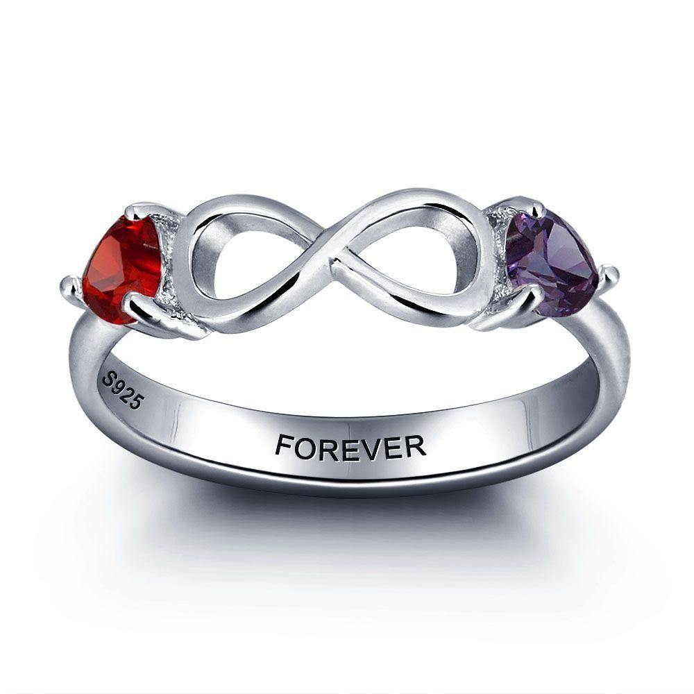 Sterling Silver 2 Stone Sideways Infinity Birthstone Ring Rings PaulaMax Personalized Jewelry