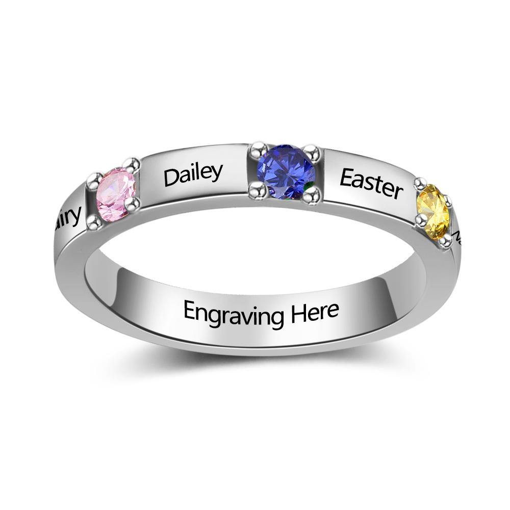 Sterling Silver 3 Round Stone 4 Names Birthstone Ring Rings PaulaMax Personalized Jewelry