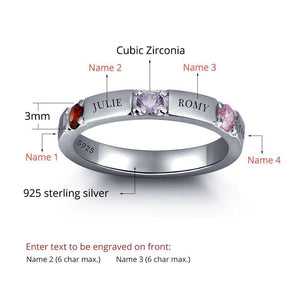 Sterling Silver 3 Stone 4 Names Birthstone Ring Rings PaulaMax Personalized Jewelry