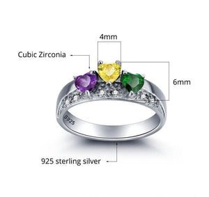 Sterling Silver 3 Hearts Crown Birthstone Ring Rings PaulaMax Personalized Jewelry
