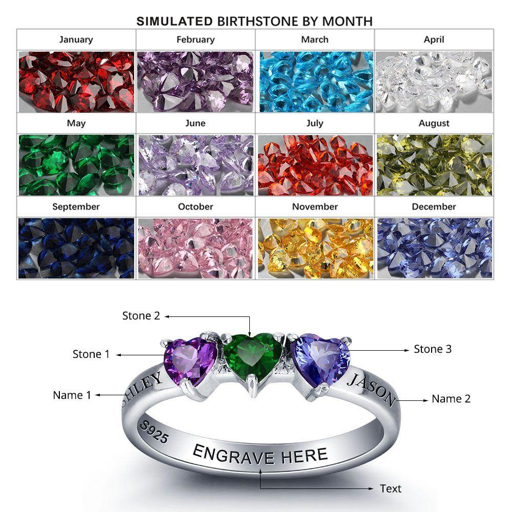 Sterling Silver 3 Straight Hearts Birthstone Ring Rings PaulaMax Personalized Jewelry
