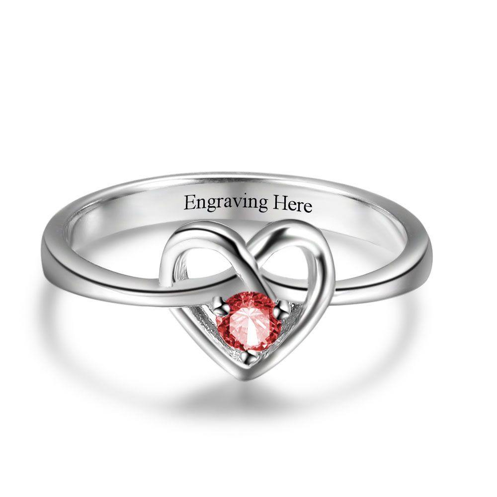 Sterling Silver Round Birthstone Heart Ring Rings PaulaMax Personalized Jewelry
