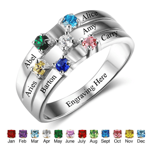 Sterling Silver 6 Round Birthstones Ring