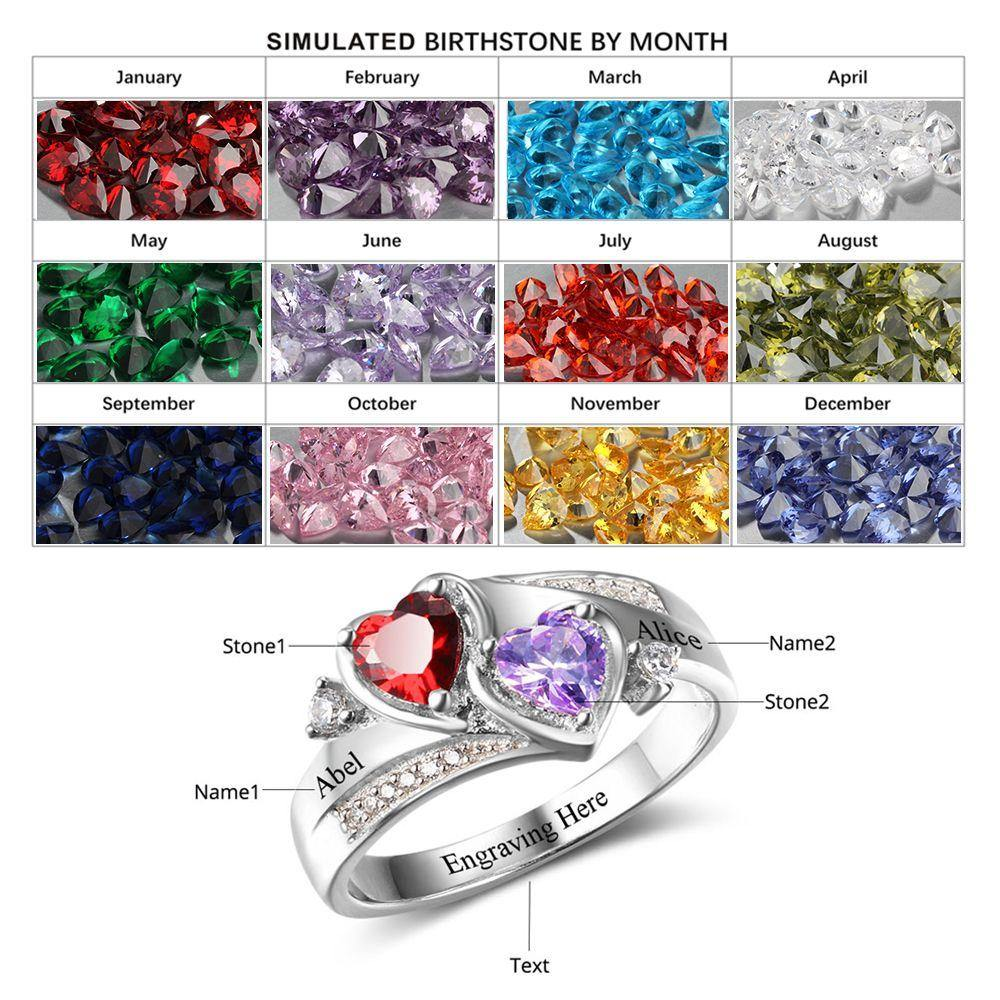 Sterling Silver 2 Hearts with Accent Wrap Birthstone Ring Rings PaulaMax Personalized Jewelry