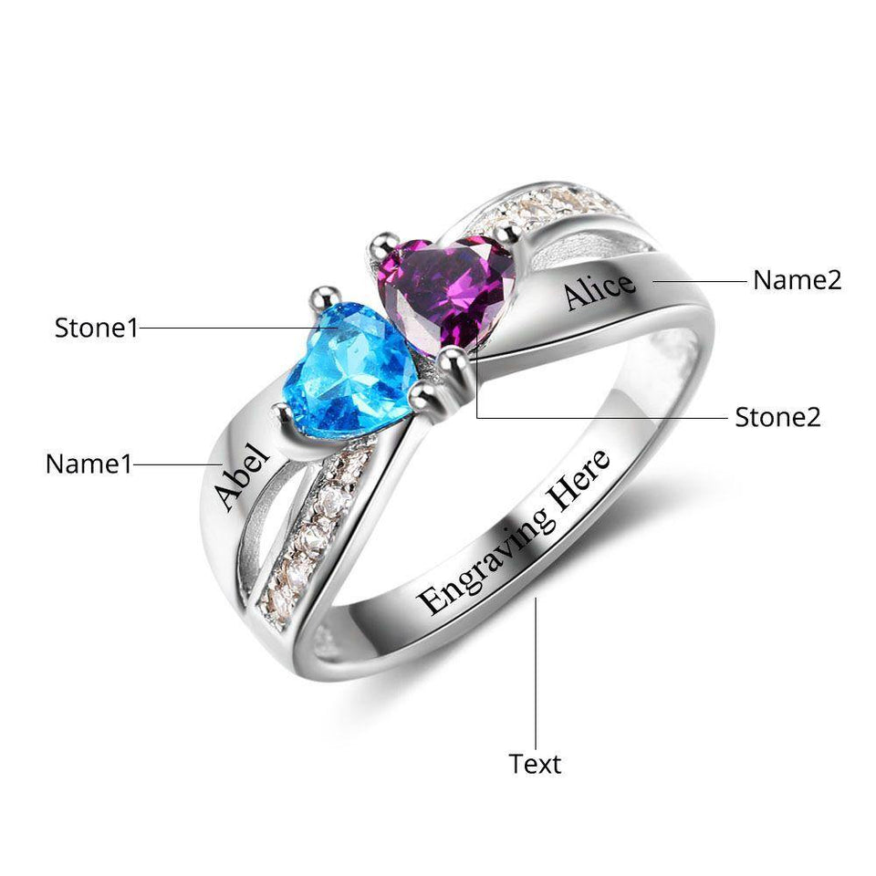 Sterling Silver 2 Hearts with Accents Criss Cross Birthstone Ring Rings PaulaMax Personalized Jewelry