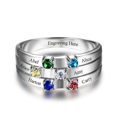 Sterling Silver 6 Round Birthstones Ring Rings PaulaMax Personalized Jewelry