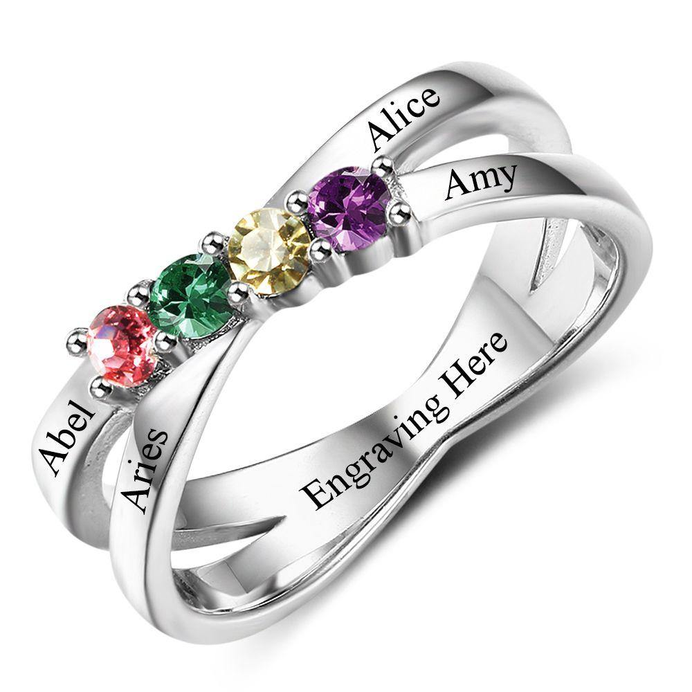 Sterling Silver 4 Round Stone 4 Name Criss Cross Birthstone Ring Rings PaulaMax Personalized Jewelry