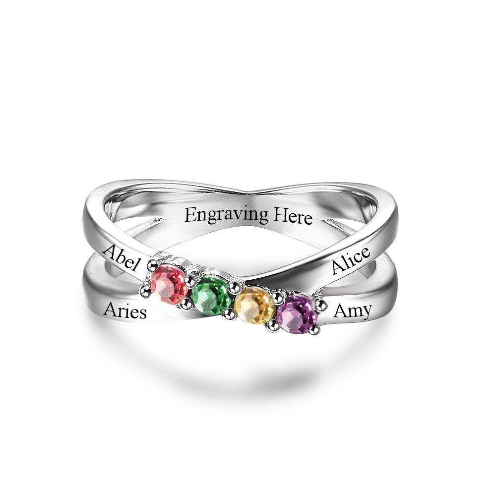 Sterling Silver 4 Stone Criss Cross Birthstone Ring Rings PaulaMax Personalized Jewelry
