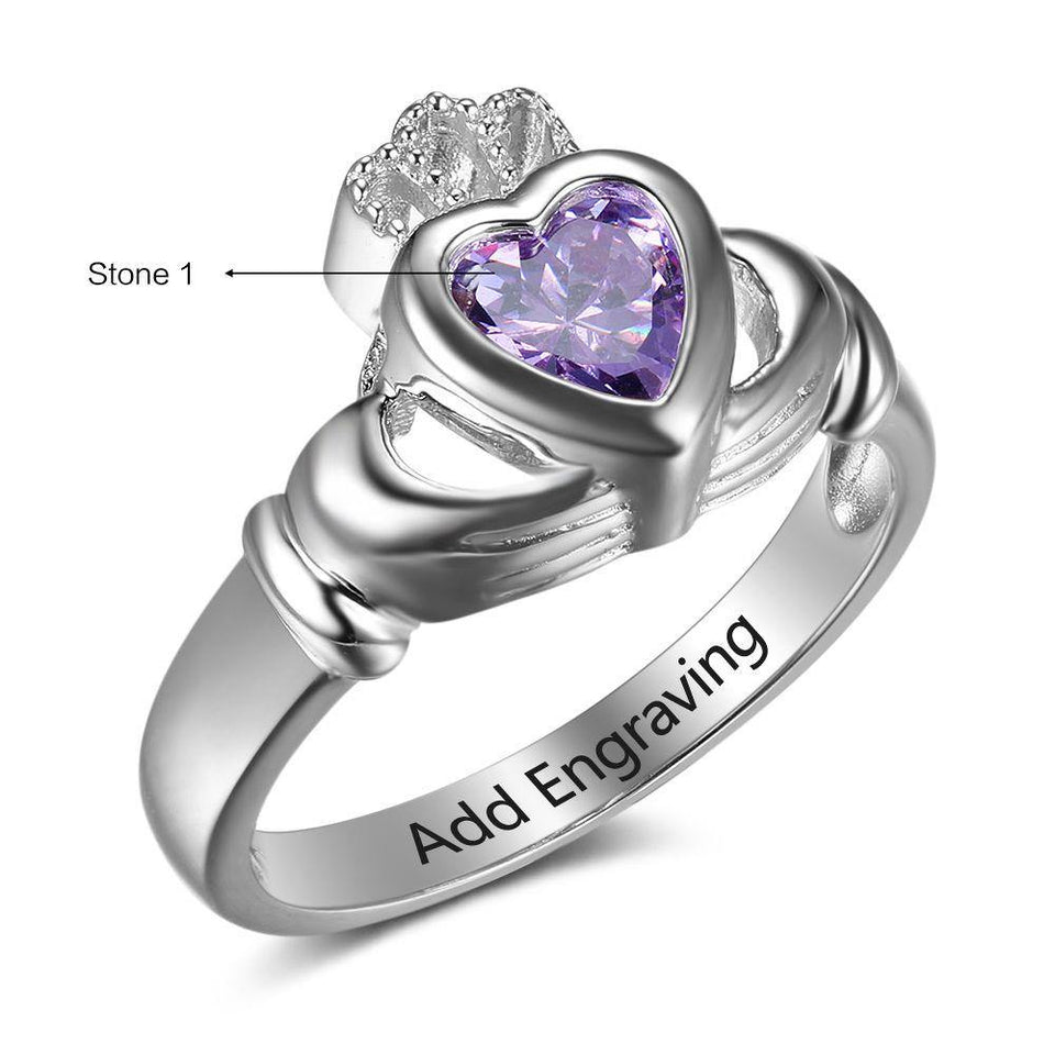 Sterling Silver Claddagh 1 Big Heart Birthstone Ring Rings PaulaMax Personalized Jewelry