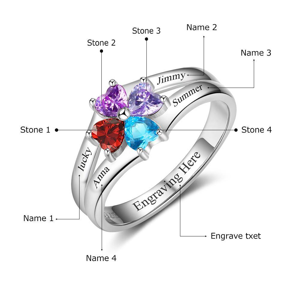 Sterling Silver 4 Heart Clover Top to Bottom Birthstone Ring Rings PaulaMax Personalized Jewelry