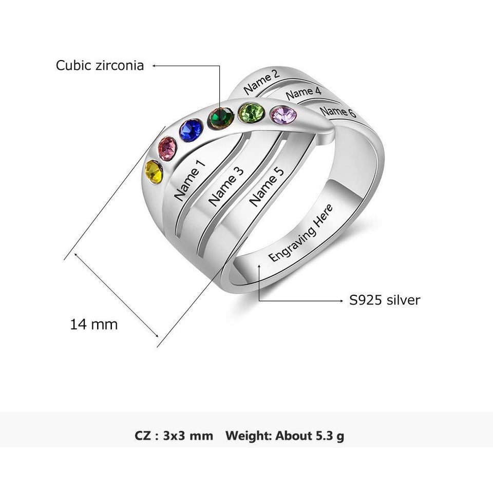 Sterling Silver 6 Round Criss Cross Birthstones Ring Rings PaulaMax Personalized Jewelry